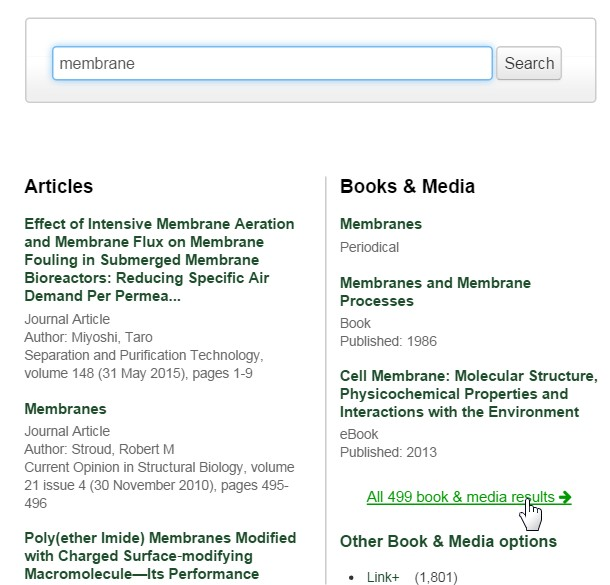 screenshot from Onesearch