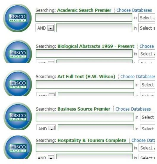 Variety of Ebsco Databases