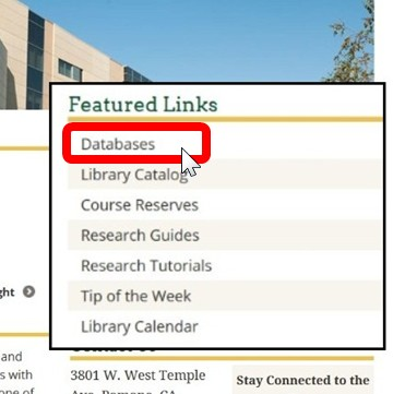 Screenshot from the Library Home Page - Databases link