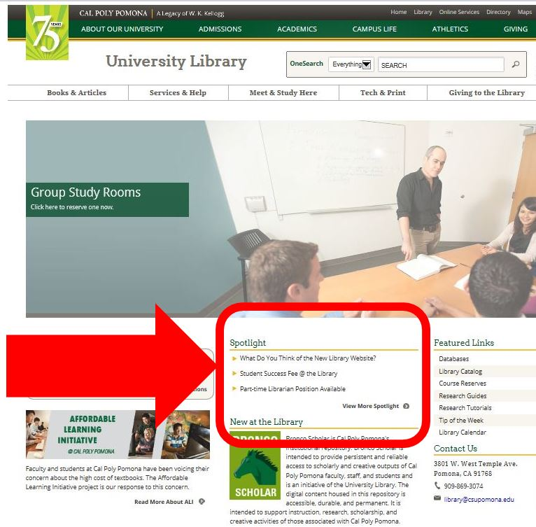 library home page showing spotlight sections