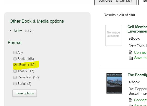 screenshot from Onesearch: limit to ebooks