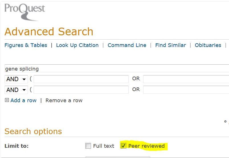 Proquest peer reviewed filter