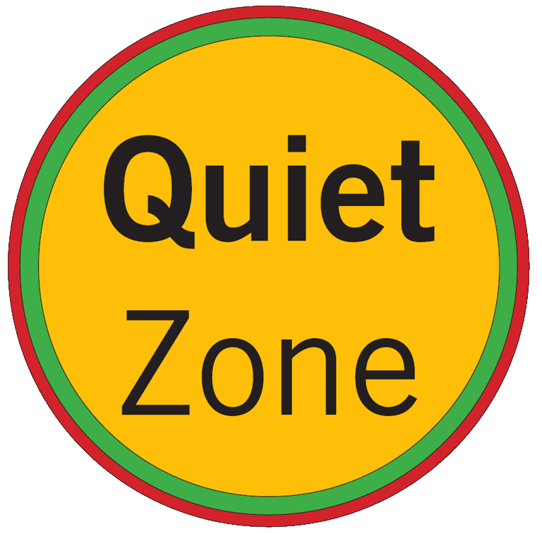 quiet zone indicated on maps with yellow