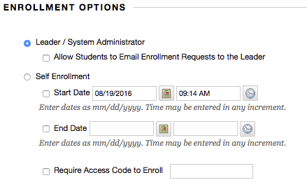 enrollment options