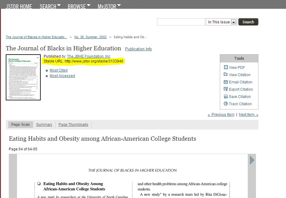 example JSTOR article