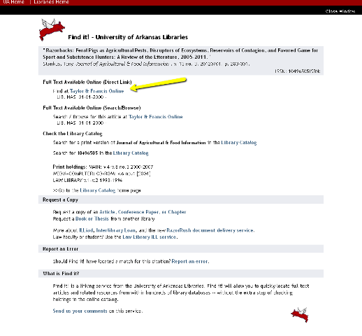 Find it! window showing a link to full text.  Below is an opiton to order the artcle on Interlibrary Loan if not otherwise available.
