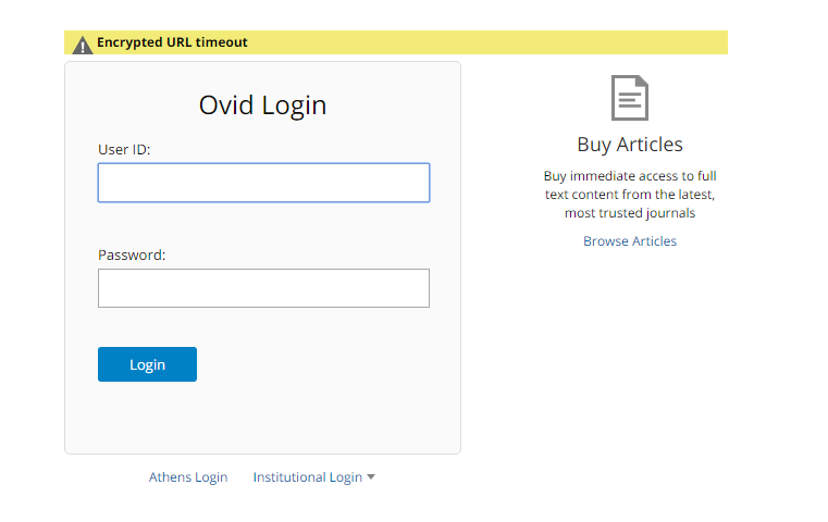 OVID login screen