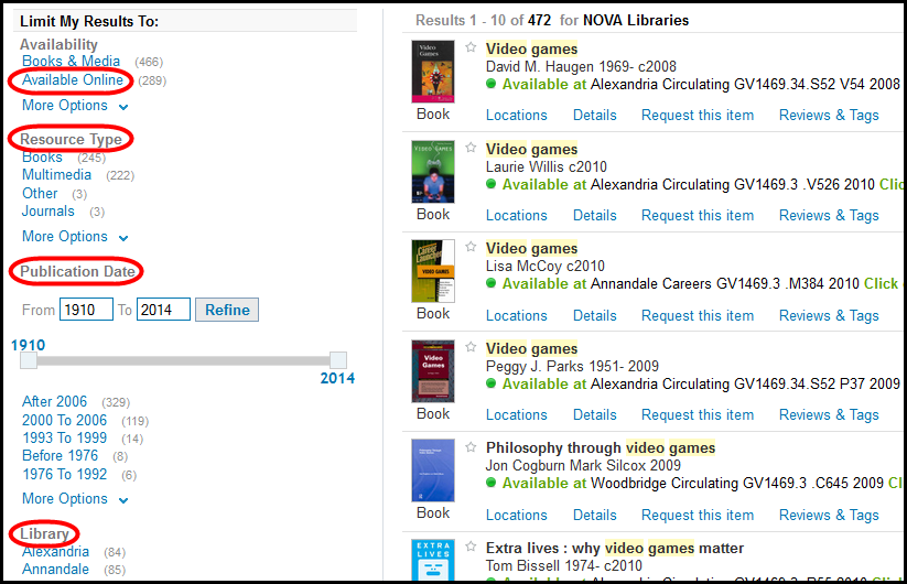 Screenshot showing catalog search filters such as publication date