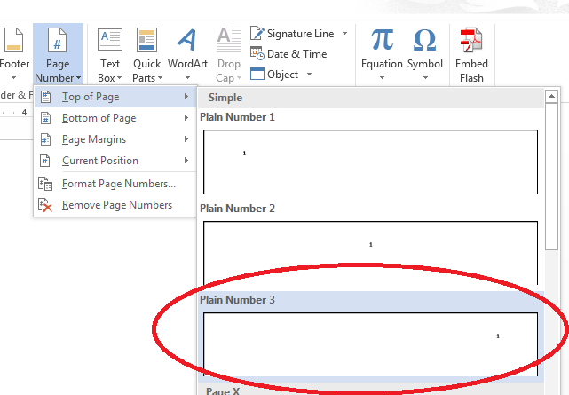 Insert page numbers at top of page
