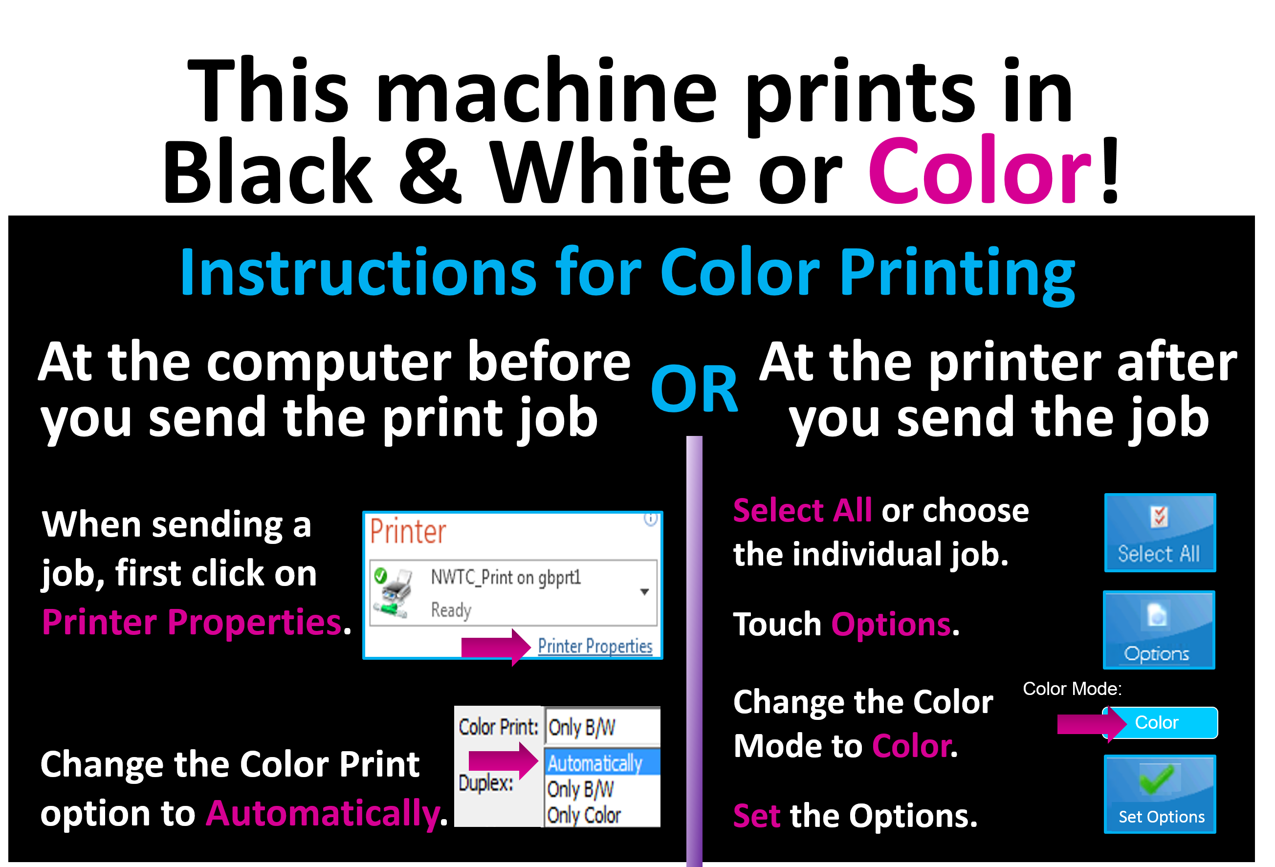 Sign with instructions for printing in color