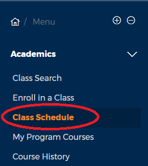 View class schedule