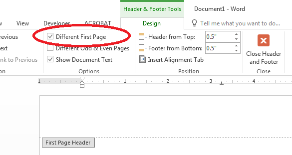Different first page option for header