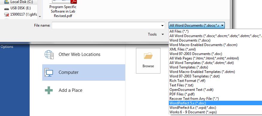 WordPerfect file type