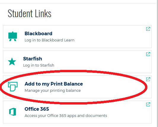 Add money to print balance link