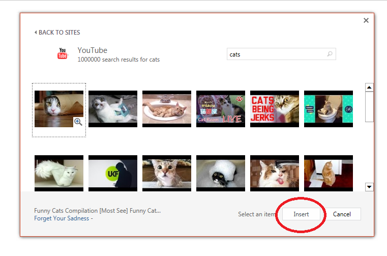 Screenshot of YouTube video search