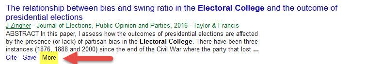 "screen shot of citation on Google scholar showing ""more"" link"
