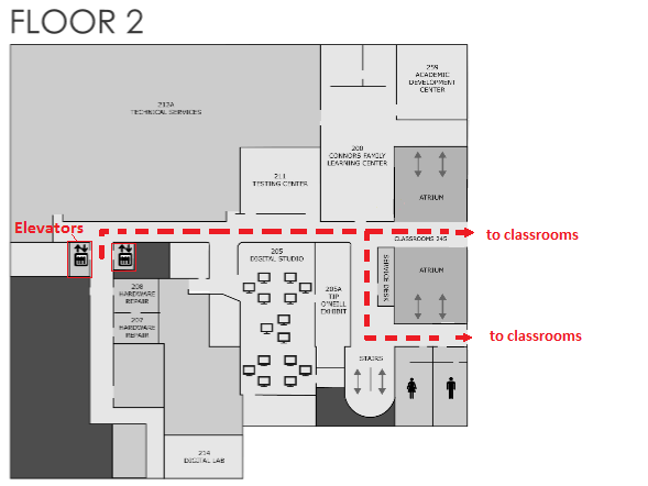 map of O'Neill Library, Level 2