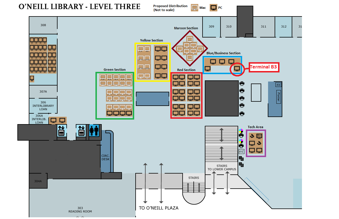 Map of O'Neill Library, Level 3