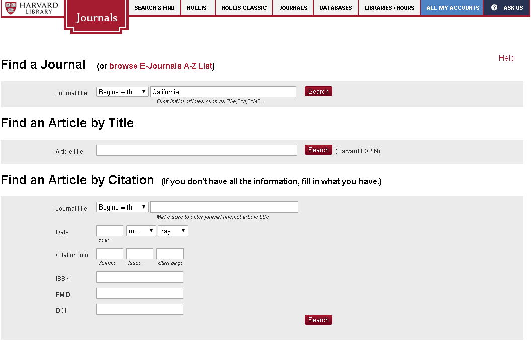 Image of journals page search form