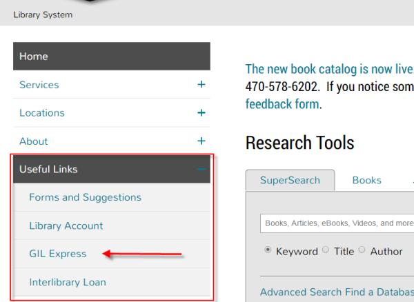 Open Useful Links menu --> Open GIL Express link