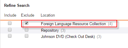 "Check ""Exclude"" next to ""Foreign Language Resource Collection"""