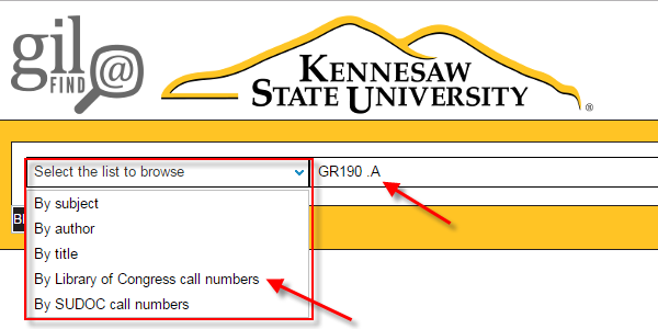 "Choose ""Browse by Library of Congress call numbers"" and enter the classification number"