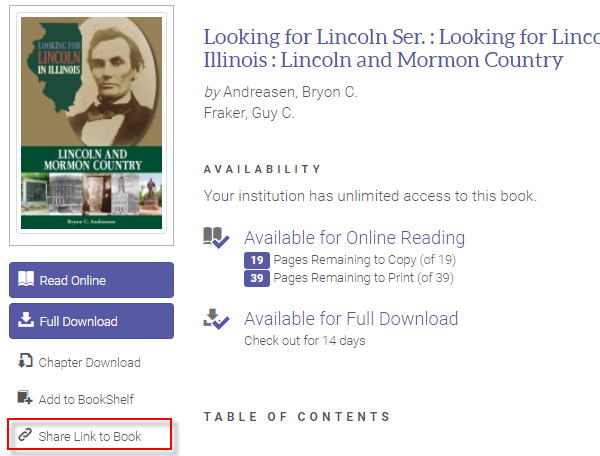 "Click ""Share Link to Book"" on the left side of the page, under ""Read Online"" and/or ""Full Download"""