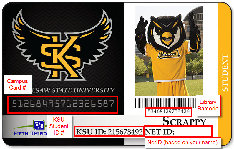Sample KSU ID with Campus Card number, student ID number, and library barcode number highlighted