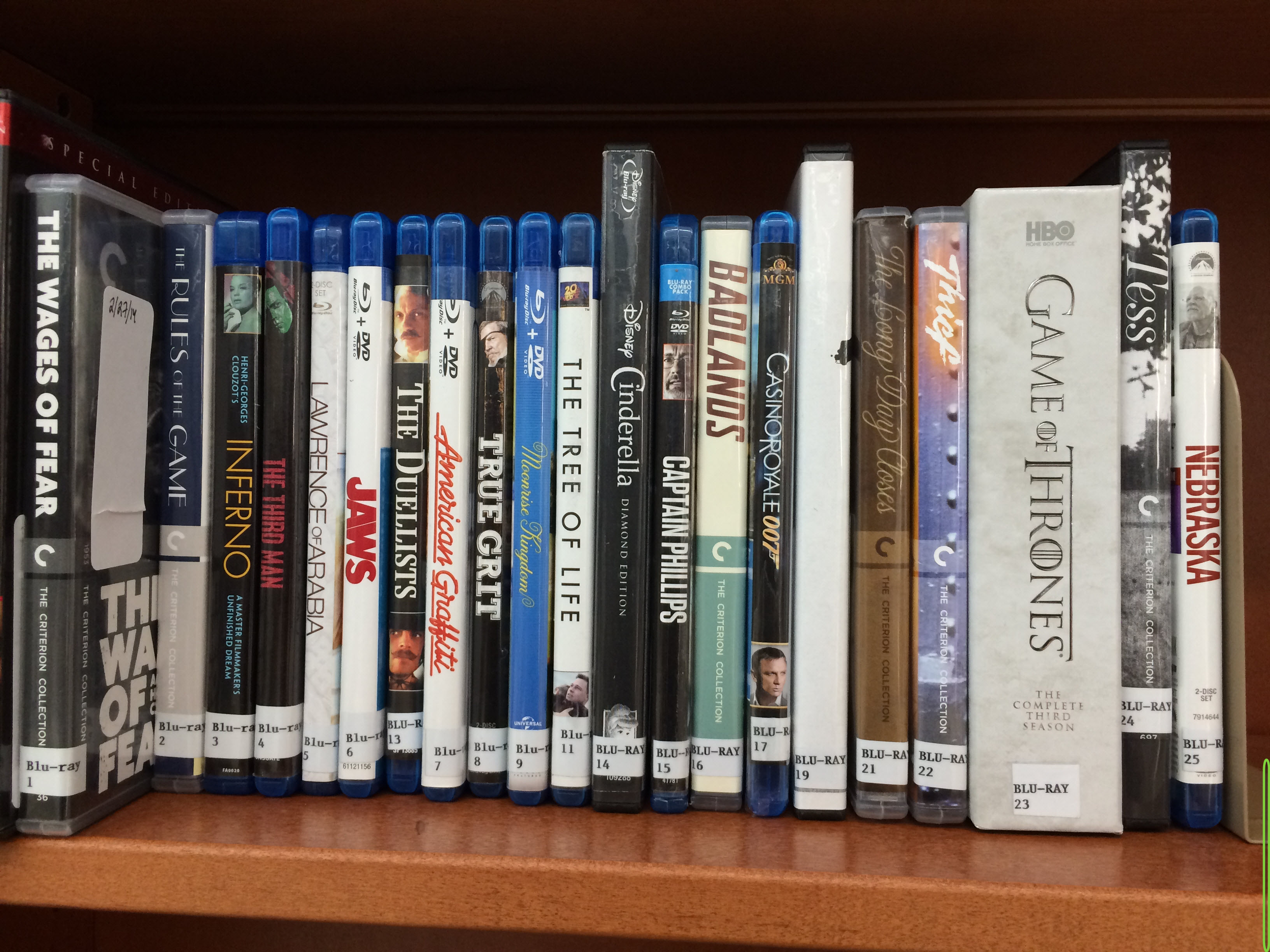close-up of blu-ray cases on the shelf