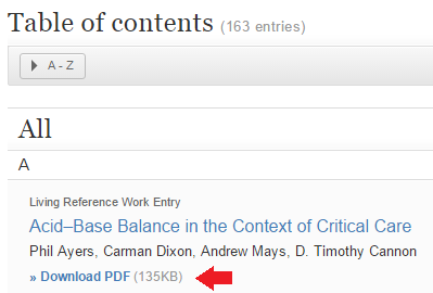 Screenshot of the chapter download options from SpringerLink