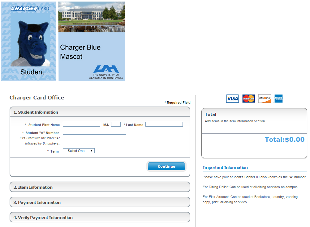 Preview of page to add money to your flex account