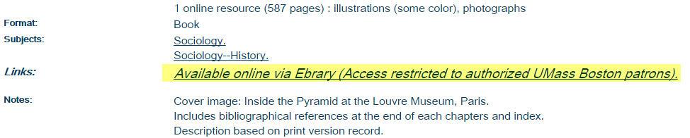 ebrary link from catalog